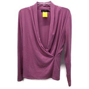 Ralph Lauren dark lavender faux-wrap blouse